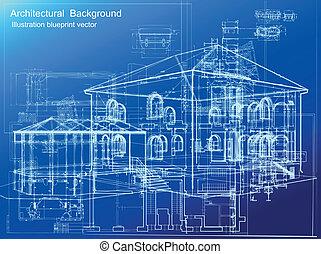 背景。, 建筑, 矢量, 藍圖