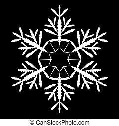 背景。, 形狀, 黑色, 白色的雪花