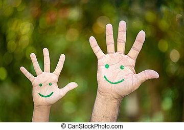 背景, 手掌, 針對, 微笑的臉, 繪, 綠色