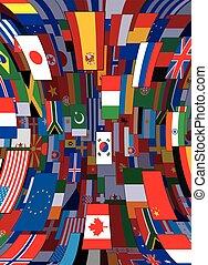 背景。, 政治, 矢量, 旗, 背景, 世界