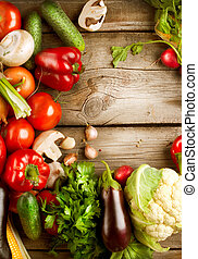 背景, 木頭, 蔬菜, 有机, 健康