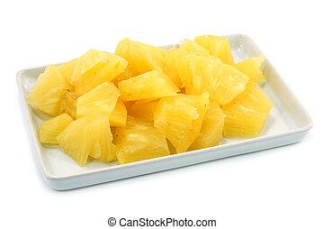 背景。, 白色, 菠蘿, 薄片