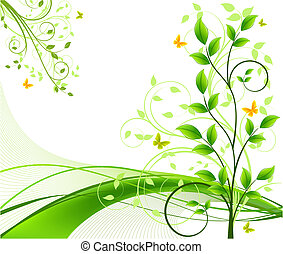 背景, 矢量, 植物, 摘要
