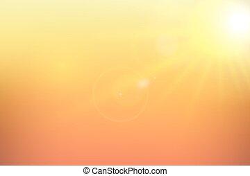 背景。, 陽光, 矢量, illustration., 黃色