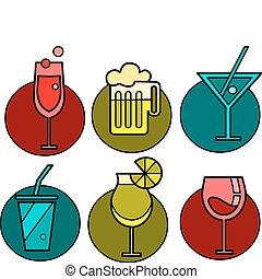 背景, 鮮艷, -2, 變體, 集合, 圖象, 六, 飲料