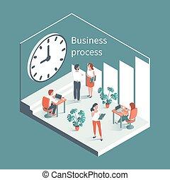 背景, clock., 工作, 大, 人們, 針對, 辦公室