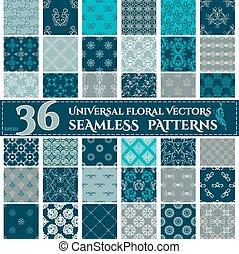 背景, patterns., seamless, 植物, 集合, 葡萄酒