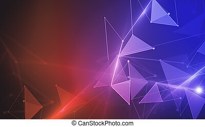 背景, polygonal, 紅色, 藍色