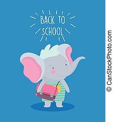 背, 很少, 背包, 教育, 漂亮, 學校, 大象
