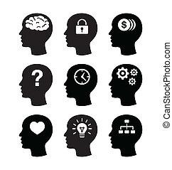 腦子, 朝向 集合, vecotr, 圖象