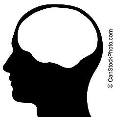 腦子, 頭, 男性, 黑色半面畫像, 區域