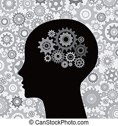 腦子, 頭, 齒輪, 背景