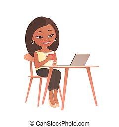 膝上型, 坐, 桌子, 電腦, 女孩