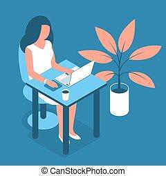 膝上型, 婦女, 工作, 辦公室。, 現代