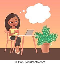 膝上型, 桌子, 女孩, 坐, 電腦