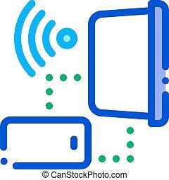 膝上型, 連接, outline, wi-fi, 矢量, 圖象, 插圖, smartphone