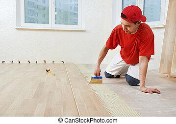 膠, 增加, 席紡地面, 工人, 地板