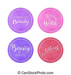 自然的美麗, 產品, 徽章, 矢量, 插圖, 標籤, 彙整, 化妝品, 水彩, 健康