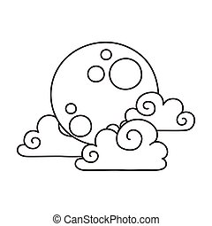 自然, 天空, 充分, 云霧, 風格, 被隔离, 圖象, 月亮, 卡通, 線
