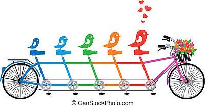 自行車, 家庭, 鳥, 矢量