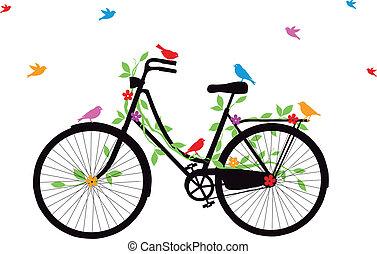 自行車, 老, 矢量, 鳥