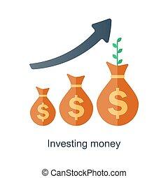 興趣, concept., 收入, 錢。, 基金, 矢量, 時間, growth., 化合物, plan., 未來, 退休金