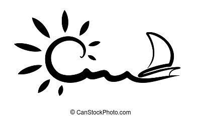 航行, vessel., 風景, 海