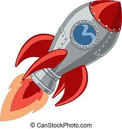 船, 卡通, 火箭, 空間