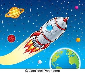 船, 透過, 炸毀, 火箭, 空間