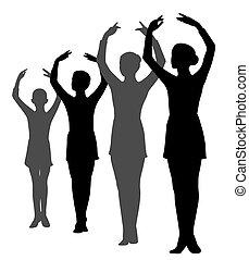 芭蕾舞女演員, 行, 組, 手, 站立, 女孩, 提高