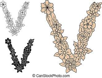 花的要素, retro, 信, v