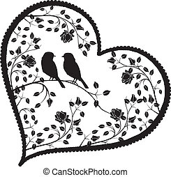 花, 心, 鳥