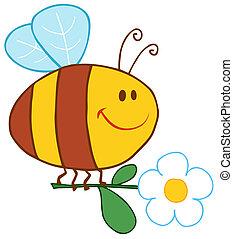 花, 愉快, 飛行, 蜜蜂