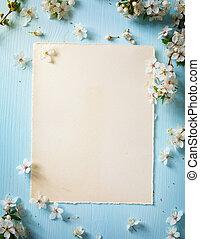 花, 春天, 邊框, 藝術, 背景