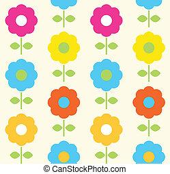 花, 春天, seamless, 矢量, 設計, 圖案