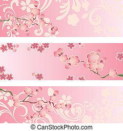 花, 櫻桃, 集合, 旗幟