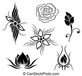 花, 紋身, 圖案
