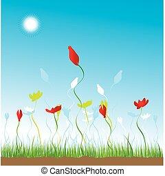 花, 草, 天空, 背景