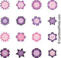 花, 集合, 矢量, 插圖, 鮮艷