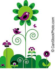 花, 鳥, 蝴蝶, 打旋, 綠色, 紫色