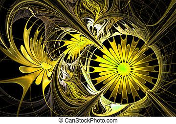 花, palette., 黃色, 分數維, 背景。, 黑色, com, design.