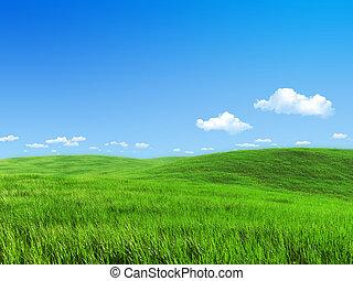 草地, 自然, -, 彙整, 綠色, 樣板
