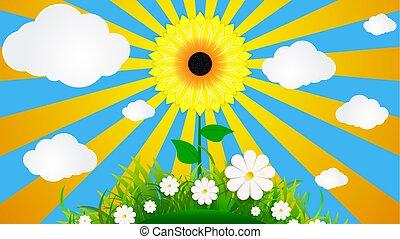 草, 天空, 背景, 向日葵