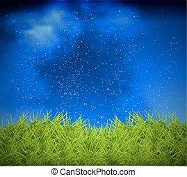 草, 天空, 背景, 夜晚