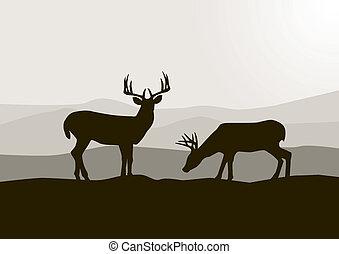 荒野, 鹿, 黑色半面畫像