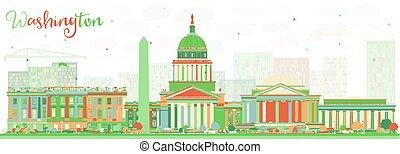 華盛頓特區, 建筑物。, 顏色, 地平線, 摘要