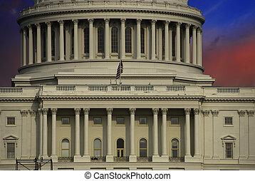 華盛頓, 在上方, 云霧, 州議會大廈, 傍晚