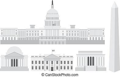 華盛頓, 建筑物, 紀念館, 州議會大廈, dc
