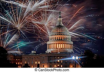華盛頓, 獨立, 美國, 給予, 7月4 日, 建築物, 顯示, 煙火, 天, 美國, 州議會大廈, dc, 快樂