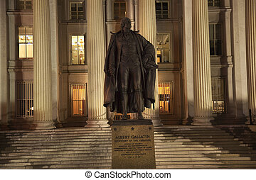 華盛頓, 阿爾伯特, 向上, 我們, dc, 雕像, 寶庫, 部門, 關閉, gallatin